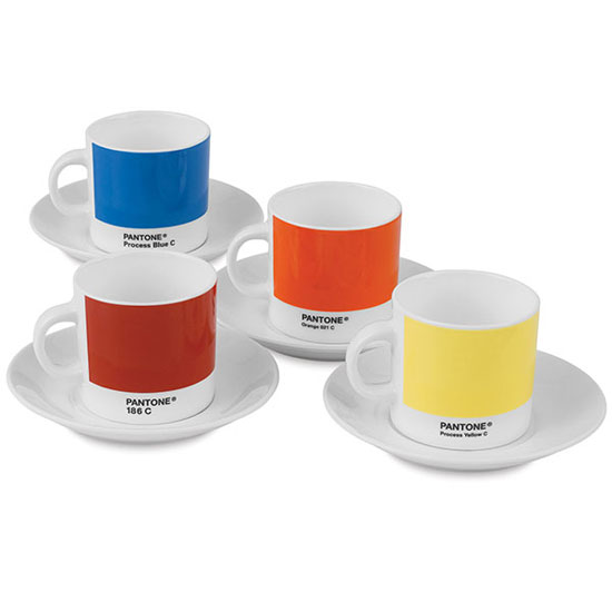 Pantone Primary Coloured Expresso 4 cup gift set