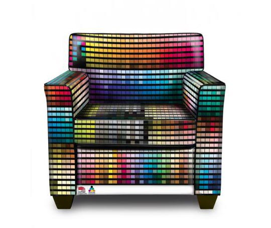Fotel w kolorach Pantone - Pantone chair, wzorniki Pantone Wrocław